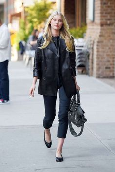 Click for best black cropped pants recommendations like Elsa Hosk is wearing: http://www.slant.co/topics/4534/~black-cropped-ankle-pants