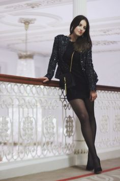 Cocktail Party - LBD, Tights, Heels, with Sequins Blazer