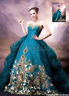 blue wedding dresses   ... Bridal Gowns > 2013 Bridal Gowns >Blue and Gold Luxury Gothic Wedding