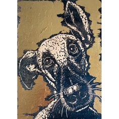 'Little Big-Nosed Dog' by Printmaker Mary Collett.  Blank Art Cards By Green Pebble. www.greenpebble.co.uk