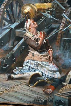 On November 16, 1776, Fort Washington was attacked by the British. John Corbin, an artilleryman, was in charge of firing a small cannon at the top of a ridge. During an assault by the Hessians, John was killed, leaving his cannon unmanned. His wife Margaret, after witnessing his death, immediately took his place at the cannon. She fired away until her arm, chest, and jaw were hit by enemy fire. The British won the Battle, and Margret, was treated as a wounded soldier & paroled.