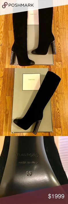NWT black velvet Tom Ford women's boots size 39 These stunning boots are currently being sold in Tom Ford stores for $2700.00. They are black velvet knee-high boots with silver sequin detailing on the toe area. The heel is 4 inches and there is a side zipper. Both boots are new with tags, complete with the original box and a dust bag for each boot. The boots are women's European sizing in a 39 or an 8.5/9 US sizing. These boots have an incredible attention to detail and extreme…
