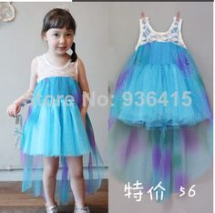 Elsa Frozen Princess 2 3 4 6 8 10Years Chilren blue and white Girls Dressess For Party US $25.00