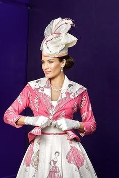 Fernanda Ramos in a 50's inspired Dior style gown with Hat by Leanne Bonello.