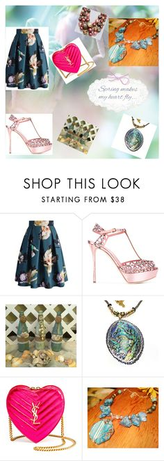 """SPRING MAKES MY HEART FLY!"" by christine-bygrave ❤ liked on Polyvore featuring Chicwish, Sergio Rossi, Yves Saint Laurent and EtsyTeamUnity"