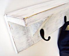 Wood Wall Shelf with hooks ANTIQUE WHITE 24 by BlueRidgeSawdust