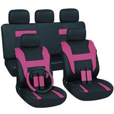 @Overstock.com - Pink 16-piece Car Seat Cover Automotive Set - This 16-piece seat cover set offers a universal fit that matches most vehicle interiors. It is made from polyurethane which is strong and durable that will last for years to come.  http://www.overstock.com/Home-Garden/Pink-16-piece-Car-Seat-Cover-Automotive-Set/6715901/product.html?CID=214117 $34.49