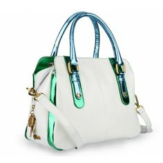 Only sophisticated women could dream up this total white #bag with gold hardware and #iridescent details