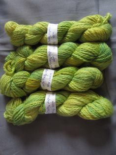 Chunky Baby Alpaca Yarn -  hand dyed chunky alpaca yarn in Spring yellow and green by KnittinginFrance on Etsy