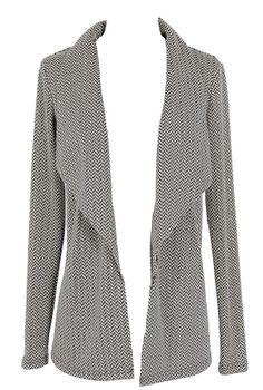 Herringbone Pattern Open Cardigan