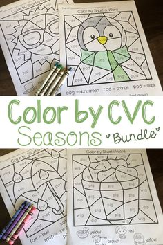 Practice CVC words throughout the year with the seasons bundle! Includes 5 different puzzles in 2 difficulty levels for each season. Covers short a, e, i, o, and u with fun and quick worksheets! #seasons #fall #winter #spring #summer #kindergarten #firstgrade #homeschool #phonics #tpt #cvc #coloring