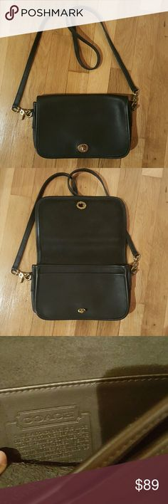 AUTHENTIC Coach crossbody purse!!! 100% Authentic Coach black leather purse. Excellent condition! Interior is black leather and one flap pocket on back of bag. Coach Bags Crossbody Bags