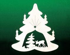 Fensterbild Weihnacht Tanne mit Reh