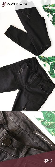 Black Orchid Distressed Skinny in Jet Black An uber cool pair of skinnies to add to your denim collection. Distressing throughout with ankle zip detail. Black Orchid Jeans Skinny