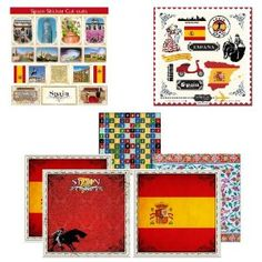 ontains 4 sheets of 12-inch by 12-inch Scrapbook Paper, 135 Alphabet Character Paper Cut Outs Contains 16 Picture Cut Outs and Country Sightseeing Stickers