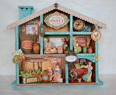 Altered shadow box using Graphic 45 Home Sweet Home collection.