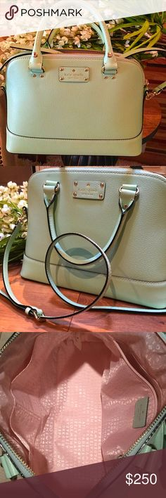 KATE SPADE  MINT💥SALE💥 NWT. Kate Spade beautiful color Mint Nice inside zip pocket and two slip pockets. Handles and a cross body strap. Dust cloth comes with it. 🌺 kate spade Bags Crossbody Bags