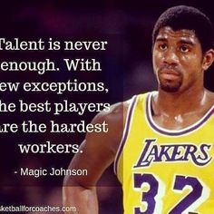 Top 100 basketball quotes photos Monday morning motivation from the legendary Magic Johnson. Great players are great for a reason, they push themselves and work harder than others are willing to. They also lead by example! Nba Quotes, Monday Morning Motivation, Lead By Example, Basketball Quotes, Work Harder, Find Quotes, Magic Johnson, Hard Workers, Extra Mile