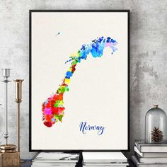 Norway Map Print World Map Print White And Aqua Country Home - Norway map poster