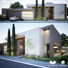 Awesome Modern House Design for Your Dream House Modern Architecture House, Residential Architecture, Architecture Design, Modern House Facades, Modern House Plans, Modern House Design, Modern Exterior, Exterior Design, Brick Wallpaper Living Room