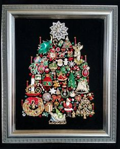 Christmas-themed, vintage jewelry, Christmas tree, on High-Quality black velvet, in a silver-colored wood easel backed frame. 10 x 12 Jeweled Christmas Trees, Types Of Christmas Trees, Christmas Tree Pictures, Silver Christmas Tree, Christmas Tree Themes, Christmas Jewelry, Christmas Art, Vintage Christmas, Christmas Ornaments
