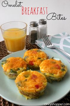 Omelet Breakfast Bites. We love how quick and easy these are. Perfect for an on the go breakfast too!