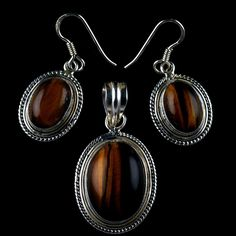 925 STERLING SILVER NATURAL TIGER'S EYE GEMSTONE 3 PIECE HANDMADE JEWELRY SET  #Unbranded