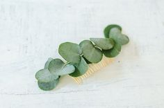 Might be cool go do all greenery but bigger than this  - golden hair comb with eucalyptus leaves for wedding accessory