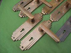Fine Set Of 11 Reclaimed Vintage Antique 1930u0027s Art Deco Brass Door Handles