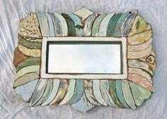 Reclaimed Wood  Framed Mirror Mosaic Art  Blue Green by woodenaht, $154.00