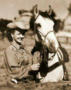 Dale Evans and Buttermilk ~Buttermilk (1941-1972) was a light buckskin Quarter Horse with dark points. He appeared in numerous American Western films with his owner/rider, cowgirl star Dale Evans.