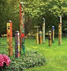 Peace Poles and Garden Art poles by Stephanie Burgess and Studio M Painted Peace we have them all ready to ship! Love love love the garden art and peace poles. Garden Crafts, Garden Projects, Garden Art, Garden Design, Garden Ideas, Mosaic Garden, Mosaic Art, Outdoor Art, Outdoor Gardens