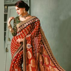 #Rust Faux Georgette Jacquard #Saree with Blouse
