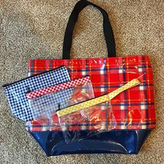 Red Plaid Beach Bag with Blue Glitter is sure to be a fall favorite!  #fall…