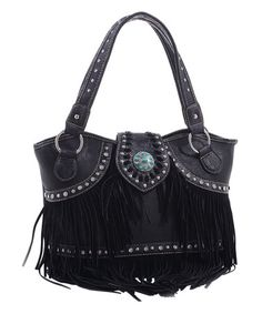 This Black & Silver Brie Concho Satchel is perfect! #zulilyfinds