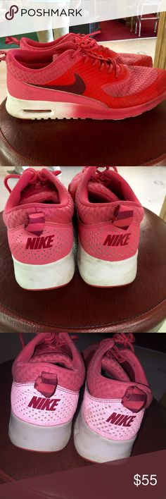 Nike Air Max Thea Size 7. EUC. Just a little dirty. No trades offers through buttons only. I'm not sure if it's missing inserts, but they don't feel like their missing. Reflective! PINK Victoria's Secret Shoes