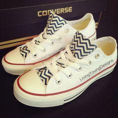 Chevron Custom Converse #backtoschool #chevron #white #custom #converse