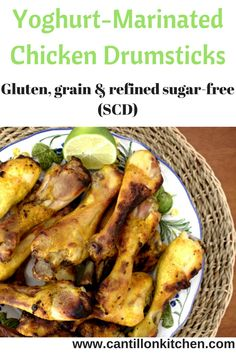 Yoghurt Marinated Chicken Drumsticks - A delicious, healthy and no-fuss gluten and grain-free recipe. Appetizers For A Crowd, Yummy Appetizers, Chicken Drumsticks, Chicken Wings, Gluten Free Chicken, Marinated Chicken, Healthy Dishes, Grain Free, Tasty