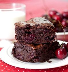 Roasted Cherry Brownies Chocolate and cherries are a classic combination for a reason Yummy Cookies, Yummy Treats, Sweet Treats, Chocolate Cherry, Chocolate Desserts, Chocolate Covered, Chocolate Bars, Chocolate Chips, Just Desserts