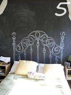 21 Astounding DIY Chalkboard Headboard Inspiration - Home Decoration Cool Headboards, Headboard Decor, Bedroom Decor, Paint Headboard, Custom Headboard, Bedroom Wall, Headboard Frame, Iron Headboard, Bedroom Ideas