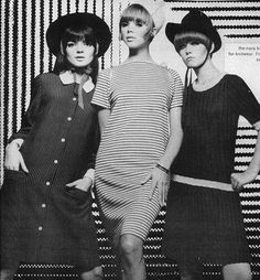 Linda Morand (left) in mod dress fashions, 1960s.