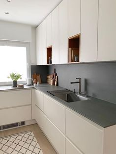 # small kitchen space # wall cabinets # kitchen planning # handleless kitchen - Home & DIY Kitchen Room Design, Modern Kitchen Design, Kitchen Layout, Home Decor Kitchen, New Kitchen, Home Kitchens, Kitchen Small, Small Kitchens, Dream Kitchens