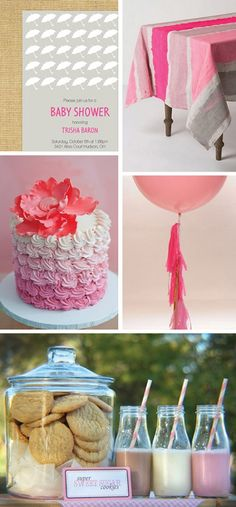 Baby Girl Umbrella themed baby shower inspiration