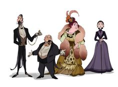 PHANTOM OF THE OPERA SIDE CHARACTERS Armand Moncharmin, Firmin Richard, Carlotta, Madame Giry The two managers here happened to resemble my two instructors who guided me through this project (not intended at all haha). Character Concept, Character Art, Concept Art, Character Creation, Opera Ghost, Music Of The Night, Character Design Animation, Phantom Of The Opera, Character Design Inspiration
