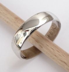 Men's white gold wedding band shiny classic wedding by havalazar, $350.00