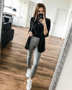 - Mode – Mode - Mode – Outfits for work, business, host, profession - stylish fall outfit ideas for women 142 Casual Work Outfits, Blazer Outfits, Business Casual Outfits, Professional Outfits, Mode Outfits, Office Outfits, Work Attire, Work Casual, Trendy Outfits