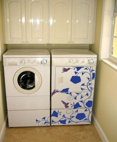 Morning Glory Vine Decals....cute idea to cover my ollllllllddddd old refrigerator