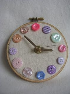 button clock... except that i would use more ornate clock hands, & grab from my rhinestone/vintage button stash...