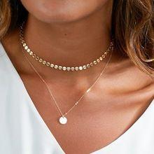 2017 nova e simples do vintage lantejoulas de cobre dupla camada pingente choker colar para mulheres raparigas chocker colar de presente da jóia(China (Mainland))