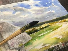 Field and Sky Watercolor Painting tutorial